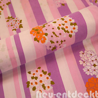 Vintage Bettbezug Stoff fabric Prilblumen flower lila 184x128 70er Pop art  D684