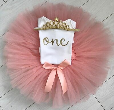 Baby Girls 1st First Birthday Outfit Tutu Skirt Cake Smash Set Blush Tiara 9-12m