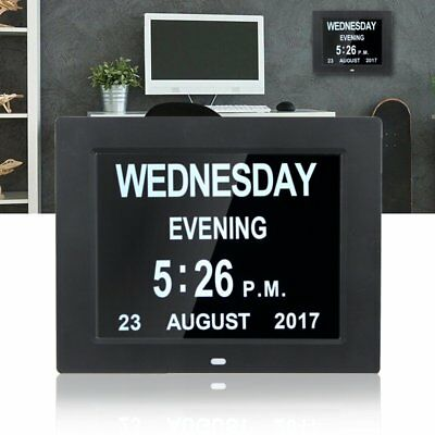 8'' LED Dementia Digital Calendar Day/Week/Month/Year Clock Large Letter Gift UK