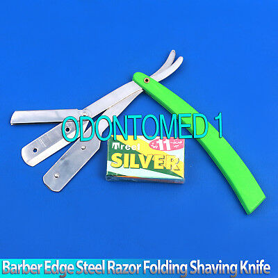 Green Straight Barber Edge Steel Razor Folding Shaving Knife 11 Blades Razors