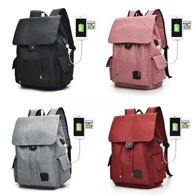 AU Men Women's Canvas Laptop Bags Backpack Rucksack with USB Charging Port New