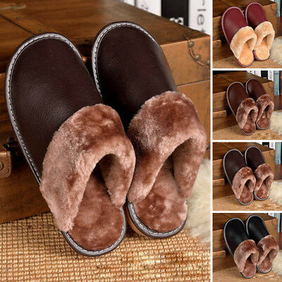 Men Women PU Leather Casual Slipper Soft Winter Warm Anti-slip Home Indoor Shoes