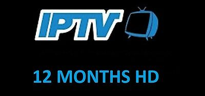 IPTV 12 Month HD subscription Lg Samsung Smart TV Magbox Zgemma Openbox Android