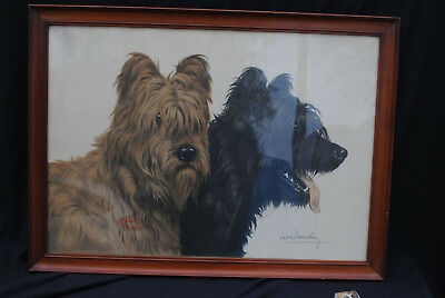 leon danchin  Chasse terrier Black and White chiens lithographie signée