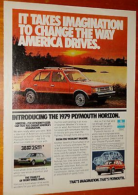 1979 Plymouth Horizon In Red Vintage Ad - American 70S Retro Compact Auto