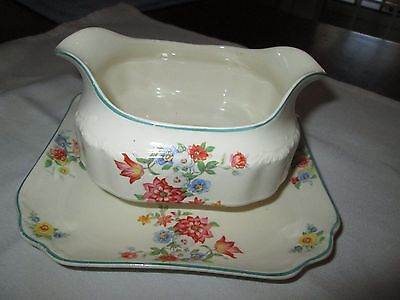 ANTIQUE ENGLISH MEAKIN FLORAL GRAVY/SAUCE BOAT WITH ATTACHED UNDERPLATE price re