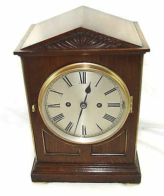 Antique Oak DOUBLE FUSEE Musical Westminster Chime Mantel Bracket Clock SERVICED