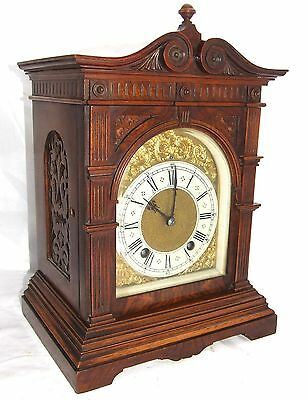 Antique LENZKIRCH Walnut TING TANG Bracket Mantel Clock : SERVICED & WORKING b39