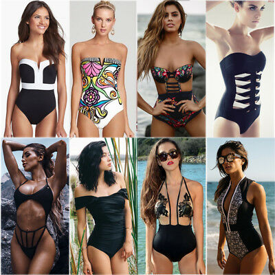 Women One Piece Swimwear Swimsuit Monokini Push Up Padded Bikini Bathing Beach