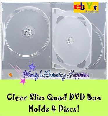 "5/8"" 14 mm Slim Quad Clear 4-DVD Case Movie Box  3 PACK holds 4 discs NEW"