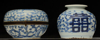 Two old Chinese porcelain blue and white double happiness items (jar and box)