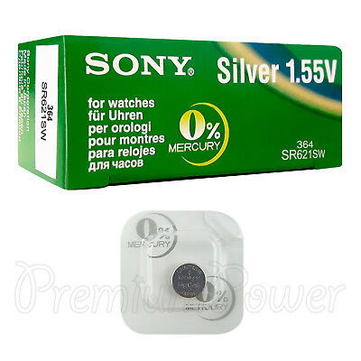 1 x SONY 364 battery Silver oxide 1.5V 363 SR621SW SR60 V364 for watches