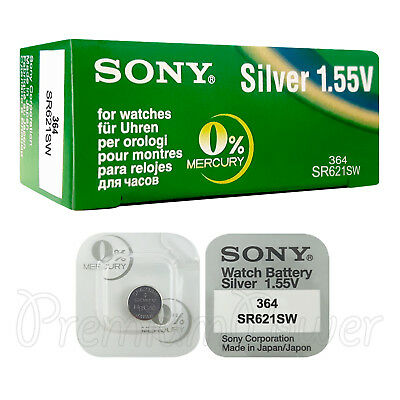 2 x SONY 364 batteries Silver oxide 1.5V 363 SR621SW SR60 V364 for watches