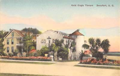Beaufort South Carolina Gold Eagle Tavern Street View Antique Postcard K79891