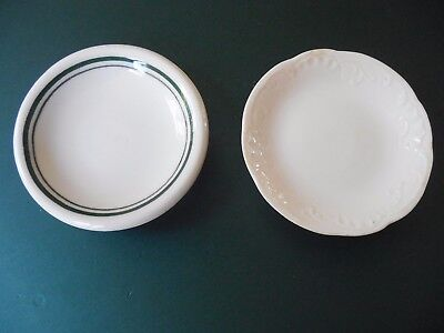 2 Vintage BUTTER PATS-1 is restaurant ware,1 plain white  NICE! 3""