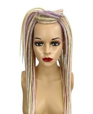 Lavender, Patel Pink & Blonde Synthetic Dread Falls, Hair Pieces, 20 Inches,