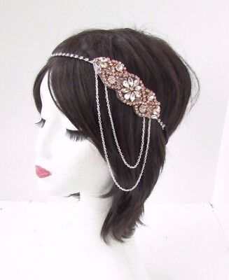 Rose Gold Silver Chain Headpiece 1920s Headband Great Gatsby Flapper Vtg 4665