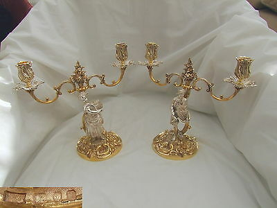 RARE PAIR of HM STERLING SILVER GILT CAST CANDELABRA