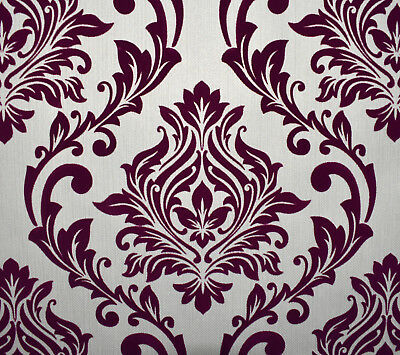 Exclusive Tuscany Velvet Flock Purple Beige Brown Damask Wallpaper J802