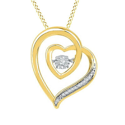 1/20ct April Birthstone Lovebeat Real Diamond Heart Pendant Sterling w/Gold Over