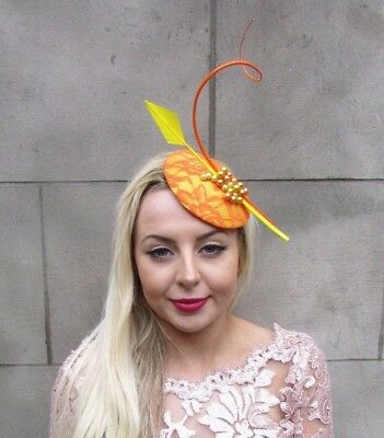 Orange Yellow Feather Hat Beaded Fascinator Hair Clip Pillbox Races Formal 4672