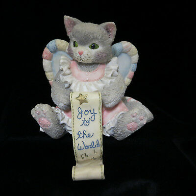 Calico Kittens Christmas Angel Stocking Hanger Holder Joy to the World 651338