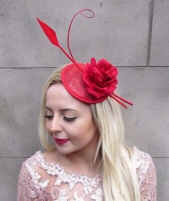 Red Sinamay Rose Feather Pillbox Hat Fascinator Formal Races Hair Clip 4676