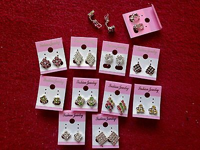 JOBLOT-10 pairs of CLIP ON crystal/colour diamonte earrings.Silver plated.