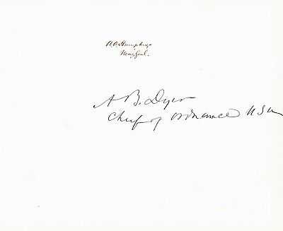 UNION GENERALS A.A. HUMPHREYS & A.B. DYER signatures on sheet - can be separated