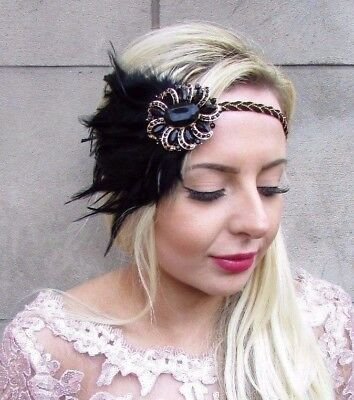 Black Gold Feather Headpiece 1920s Headband Flapper Fascinator Great Gatsby 4682