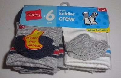 New Hanes Boys Toddler Crew Socks - Pack Of 6 - 2T - 3T - Gripper Foot Bottom