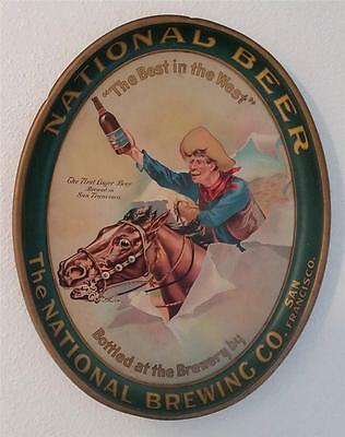 RARE! The National Brewing Co. San Francisco Beer Tin Serving Tray Cowboy Horse