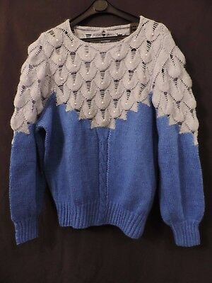 Pull Vintage 80  Maille Tricot Main  Bleu   T 40  Blue Whool Sweater