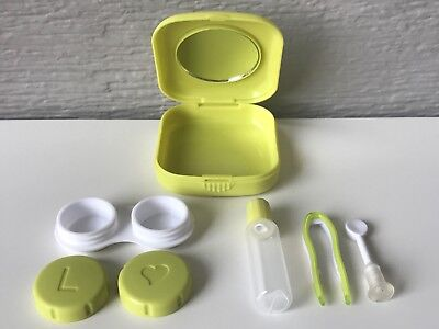 Contact Lens Case Holder Travel Kit Set Green Remover Inserter Tweezers Mirror
