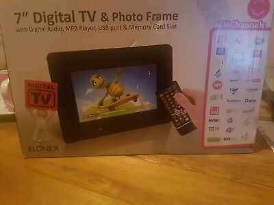 """Elonex 7"""" Digital Photo Frame with built in Freeview TV PF9501"""