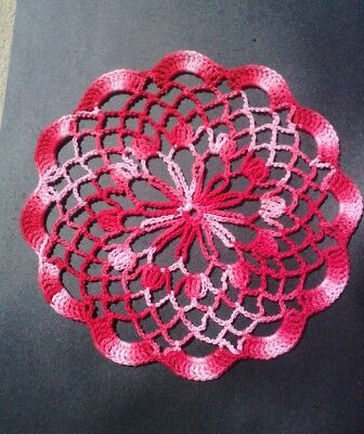 Crochet Doily...variegated Red...hand Made By Me