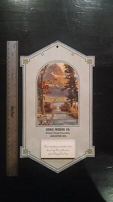 NICE Vintage 1934 ~ Christmas Calendar beautiful artwork on cover Snow Mountains