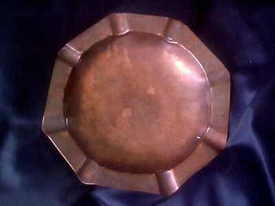Antique Arts Crafts Signed GUILDCRAFT Hammered Copper ASHTRAY By The BLIND