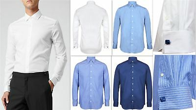 Mens Shirt Invictus Slim Athletic Body Fit Easycare Cotton Double French Cuff