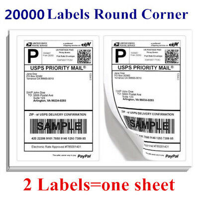 20000 Round Corner 8.5x5.5 Half Sheet Shipping Labels For USPS PayPal Amazon