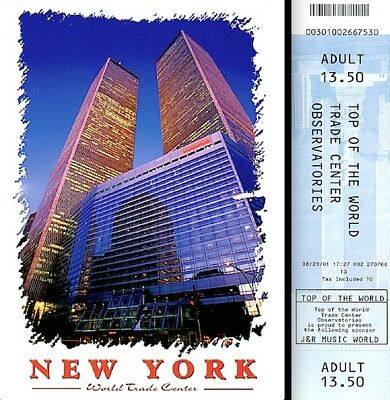 World Trade Center Pre 9/11 2001 Observatory Ticket Adult WTC Marriott Postcard