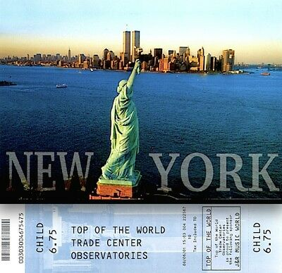 World Trade Center Pre 9/11 2001 Observatory Ticket Child WTC Liberty Postcard