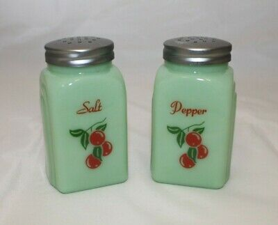 New Salt and Pepper Shakers Jade Green Glass with Cherries Art Deco Retro Style