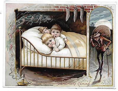 Woolson Spice Lion Coffee Toledo Oh Christmas Sandman's Coming Vict Card C 1880S