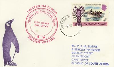 Tristan Da Cunha 1971 Cover Posted On Board Mfv Melodie Red Cachet