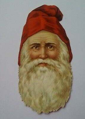 Largish Emboss.Victorian Scrap. Father Christmas. Approx.12x6&1/2cms.