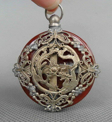 Collectible Handwork Agate Armor Miao Silver Carved Dragon Phoenix Lucky Pendant