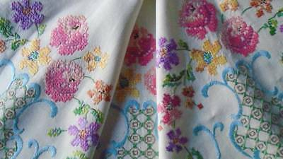 Vintage Hand Embroidered Quality Linen  Tablecloth ~ Beautiful Coloured  Flowers