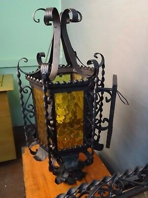 Huge 1940S Style Wrought Iron Spanish Revival Exterior Wall Sconce Lamp Lantern