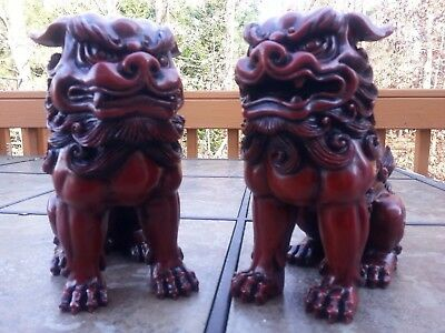 """7""""H Chinese Feng Shui Foo Dogs Statue Lucky Wealth Figurine Gift & Home"""